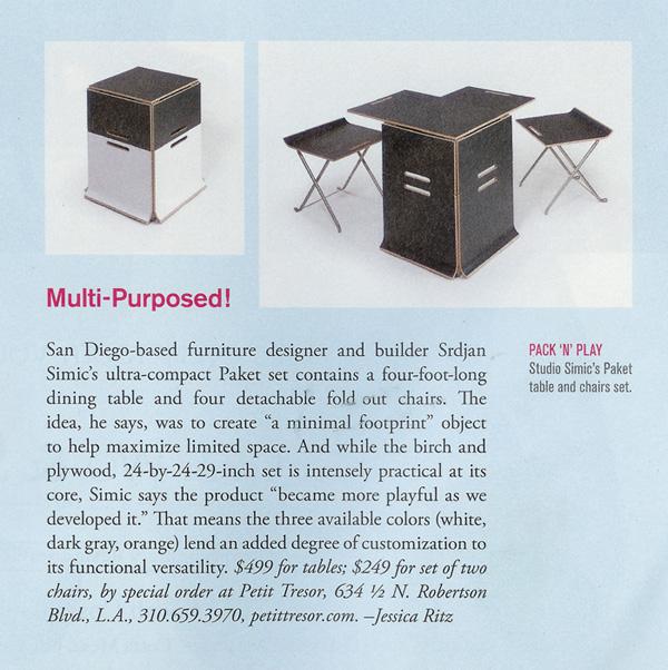 Featured furniture in Interiors magazine