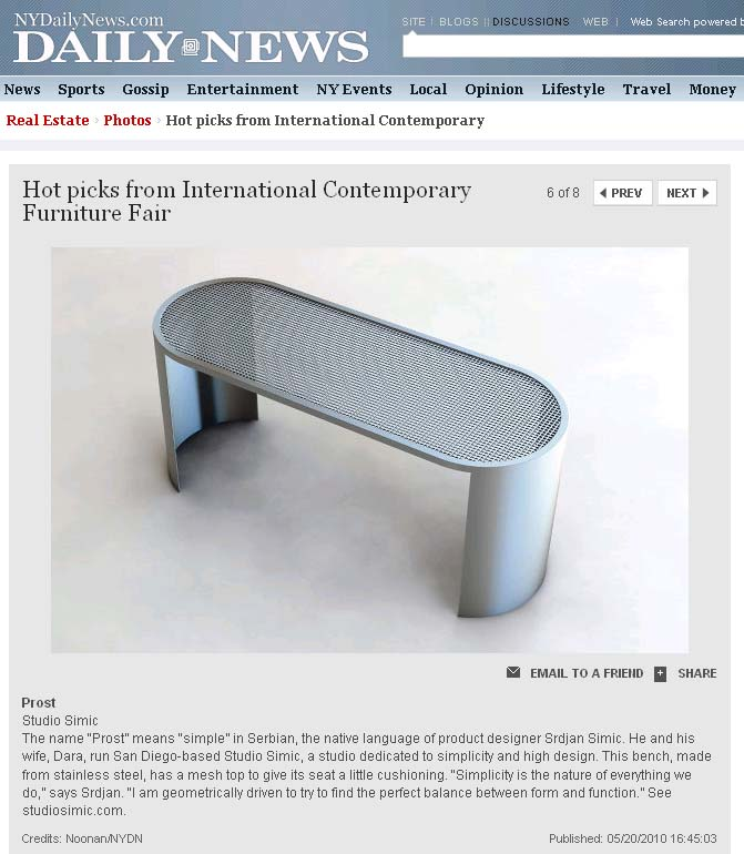 SIMIC furniture named 'hot pick' at ICFF 2010